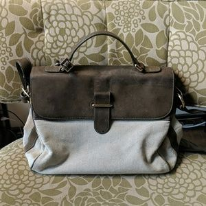 Uterque Leather Canvas Satchel Crossbody Bag